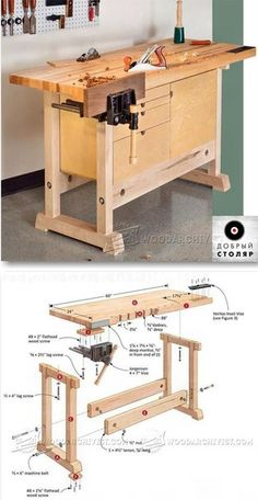 Compact Workbench Plans - Workshop Solutions Plans, Tips and Tricks - Woodwork, Woodworking, Woodworking Plans, Woodworking Projects Woodworking Bench Plans, Workbench Plans, Teds Woodworking, Woodworking Crafts, Garage Workbench, Youtube Woodworking, Learn Woodworking, Woodworking Workshop, Garage Bench