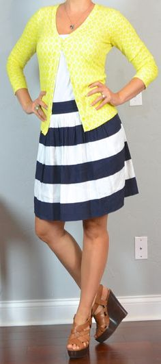 Outfit Posts: outfit post: navy striped skirt, yellow cardigan, brown wedges