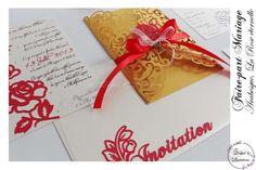 Faire-part Mariage Design - Modèle Arabesque - La rose éternelle de la boutique OrchidEtCreations sur Etsy Kirigami, Arabesque, Creations, Gift Wrapping, Boutique, Design, Gifts, Etsy, Paper Lace
