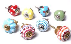 Mixed Set of 8 x Bright Coloured Ceramic Knobs Cupboard Knobs Cabinet Handles