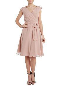 Bridesmaid cap sleeve prom dress