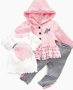 GUESS Baby Set, Baby Girls Layette Hoodie, T-shirt and Legging Set - Kids - Macy's