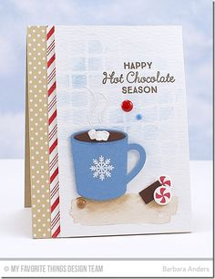 Hug In a Mug, Candy Stripes Background Builder, Hot Cocoa Cups Die-namics, Large Grid Stencil - Barbara Anders  #mftstamps