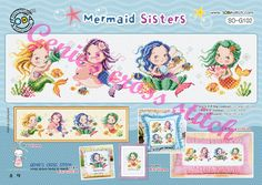 Mermaid Sisters Cross stitch pattern by GeniesCrossstitch on Etsy