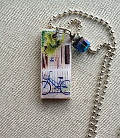 Key West Home and Bike on Wood Pendant With Nickel by OleanderRoad, $12.00