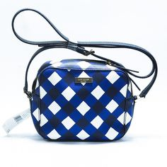 """Kate Spade Newbury Lane Gingham Cammie Cross Body BNWT. Adjustable black leather strap with up to 20"""" drop. Zip top closure. Inner zip pocket. Custom fabric lining. 14k gold plated hardware. Material is PVC/leather. kate spade Bags Crossbody Bags"""