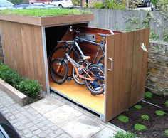 DIY PROJECT: A beautifully design bicycle storage shed; plans and photos.