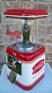 Vintage 1 cent gumball peanut candy machine with coca cola theme coin op