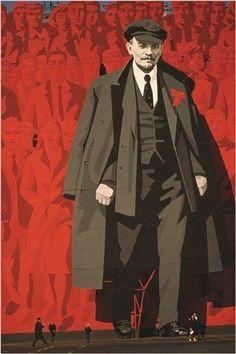 IMAGE OF LENIN political poster LENINGRAD SOVIET UNION collectors 24X36 RARE