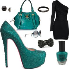 Totally teal! The outfit that I created on polyvore :) I love everything about it, it's so me. (: