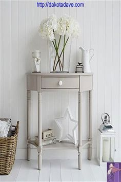 The Oxford grey half moon console table with drawer and shelf, perfect for a hom. The Oxford grey half moon console table with drawer and shelf, perfect for a home where there is li Hall And Living Room, Cottage Living Rooms, Chic Living Room, Living Room Grey, Living Room Furniture, Hall Furniture, Cream Furniture, Grey Room, Furniture Covers
