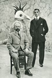 """Henri Matisse, Massine and man in chicken suit.   Matisse had created all of the costumes and set designs for the Ballet Russes production of """"Le Coq Dor""""."""