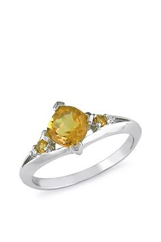 10K White Gold Cushion & Round Cut Citrine Ring