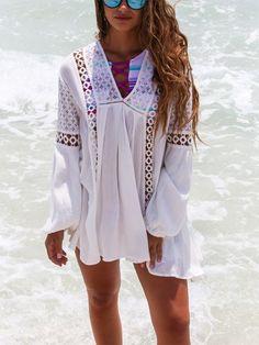 White Lace Bikini Vacation Dress Cover Ups Sunscreen Shirt – jollyluva dress shift shift dress summer women shirt dress Dress Shirts For Women, Blouses For Women, How To Wear Shirt, Beachwear Fashion, Lace Bikini, Mini Vestidos, Vacation Dresses, Aliexpress, Types Of Fashion Styles