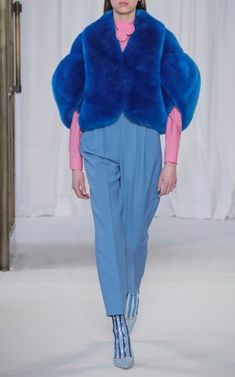 Faux Fur Jacket and Pleated Pants by Delpozo Fall Winter 2018