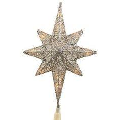 """12"""" Lighted Silver Glitter Star of Bethlehem Christmas Tree Topper -Clear Lights"""