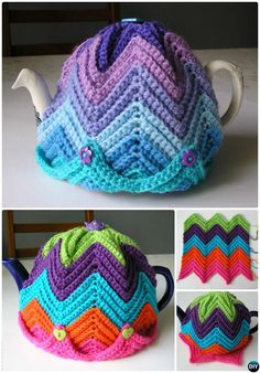 Crochet Easy Ripple Tea Cosy Free Pattern-20 Crochet Knit Tea Cozy Free Pattern s
