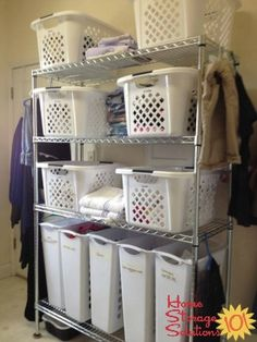 Gathering and sorting all dirty laundry, and clean laundry into laundry room on shelves can make it so much easier to get the whole process done featured on Home Storage Solutions 101