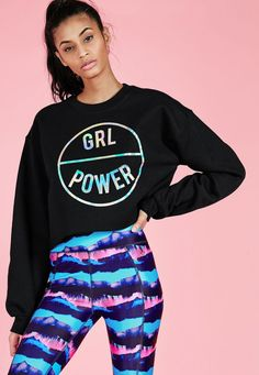 Missguided - Active GRL Power Cropped Sweatshirt Black