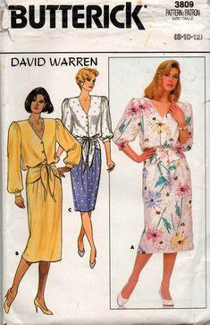 Butterick 3809 DAVID WARREN Womens Blouson Dress with Waist Ties 80s Vintage Sewing Pattern Size 8 10 12 UNCUT Factory Folded