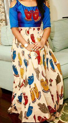 Kalamkari Simple Kurta Designs, Kids Blouse Designs, Kurta Designs Women, Kalamkari Designs, Churidar Designs, Kalamkari Dresses, Stitching Dresses, Frock Design, Anarkali Dress