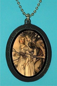 Fairy Tale Beautiful Woman and Tree Man Illustration Necklace Pendant