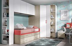 Habitación juvenil con cama compacta y armario puente Wood Furniture, Baby Room, Locker Storage, Kids Room, Sweet Home, Cabinet, Closet, House, Home Decor