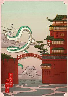 Studio Ghibli Art, Studio Ghibli Movies, Hayao Miyazaki, Japanese Prints, Japanese Art, Anime Kunst, Anime Art, Spirited Away Wallpaper, Spirited Away Poster