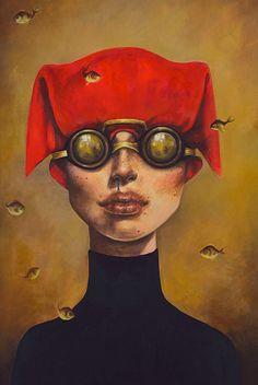 Artist: Afarin Sajedi {contemporary surrealism art female head fish woman face portrait cropped painting} afarinsajedi.com