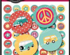 Amor Bus 1 pulgada redondo círculos imprimible para adhesivos, etiquetas, tarjetas, colgantes de vidrio, arte digital para la joyería