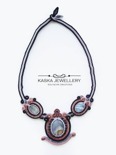 NACRE, Soutache necklace with mother pearl