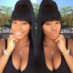20 Great Ponytails with Bangs Inspiration Ideas. Black ponytail hairstyle More Weave Ponytails With Bangs, Weave Ponytail Hairstyles, Bangs Ponytail, . Weave Ponytails With Bangs, Black Girl Ponytails, Bangs Ponytail, Weave Ponytail Hairstyles, Ponytail Styles, My Hairstyle, Hairstyles With Bangs, Girl Hairstyles, Short Hair Styles
