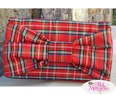 Preppy Holiday Plaid Silk Bow Clutch