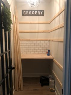 A walk in pantry makeover from builder grade to organized functionality. - - A walk in pantry makeover. Goodbye wire shelves, hello glass front fridge, subway tile, wooden shelving and a butcher block countertop. Pantry Shelving, Pantry Storage, Diy Storage, Pantry Room, Walk In Pantry, Small Pantry, Pantry Inspiration, Kitchen Pantry Design, Pantry Makeover