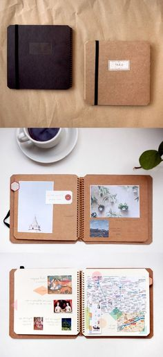 Scrapbooking made simple, notebook made of brown recycled paper with three photos, on a want to make your own travel diary? inspirational ideas in 60 photos