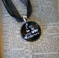 Round Silver Pendant - Ribbon and Leather Black Necklace - Counting Crows Tribute - Mr. Jones Song - Rock - Music Lyrics (STR-04). $9.99, via Etsy.