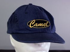Camel Cigerettes Baseball Hat Strapback Cap Blue Yellow Adjustable One Size #Camel #Adjustable