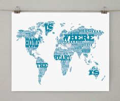 World map cool stuff pinterest sheet music typographic world map home is where the heart is on white gumiabroncs Gallery