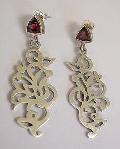 Sterling Silver Faceted Garnet Handmade Earrings  by CitrineSunset, $150.00 Beaded Earrings, Earrings Handmade, Handmade Jewelry, Unique Jewelry, Handmade Gifts, Ear Jewelry, Jewellery, African Jewelry, Ear Cuffs