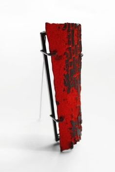 """Han Chieh Chuang  """"Red Brick series #2"""", Brooch, Silver, Copper and enamel, 2013 -  at New Designers 2013 (Edinburgh College of Art)"""