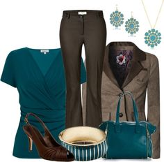 """Teal and Browns"" by my-pretend-closet on Polyvore"