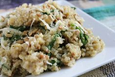 Weight Loss... the Natural Way. Parmesan Spinach Quinoa Recipe.  1 Cup Quinoa 1 1/2 Cups Water 1/2 tsp. Salt 3 T. Olive Oil ½ Cup Pine Nuts 3 Cloves Garlic, Minced 2 Cups Fresh Baby Spinach, chopped 1 T. Lemon Juice 1 Cup Shredded Parmesan Cheese  #healthyeating #weightloss #quinoa