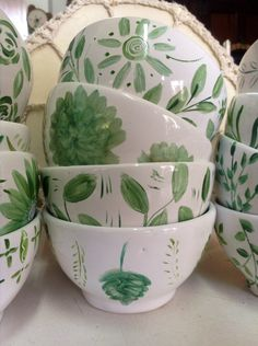 Ceramic Bowls, Ceramic Pottery, Pottery Sculpture, Kitchen Things, Planting Flowers, Traditional, Patterns, Tableware, Calla Lilies