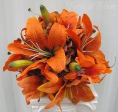 Tiger lily Wedding Bouquet silk bridal bouquet orange red Autumn fall wedding flowers. $100.00, via Etsy.