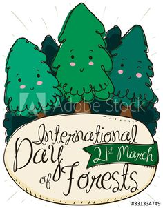 Cute Pines, Sign and Ribbon for International Day of Forests, Vector Illustration - Buy this stock vector and explore similar vectors at Adobe Stock International Day, Forests, Adobe, Vectors, Ribbon, Explore, Signs, Illustration, Cute
