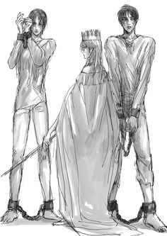 Queen Historia (Krista) with Titan Shifter!Ymir and Titan Shifter!Eren