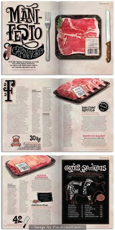 Women's Health Mag. I usually hate the site of meat. But this was an interesting find, it kind of reminds me of our last project though.: