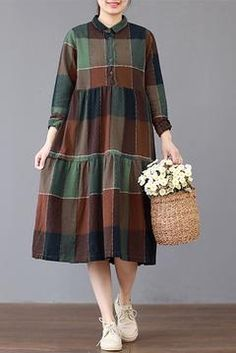 FantasyLinen Loose Large Plaid Dress, Cotton Plue Size Dress The Effective Pictures We Offer You About Women Style tomboy A quality picture can tell you many things. You can find the most beautiful pictures that can be presented to you about Wome Simple Dresses, Cute Dresses, Casual Dresses, Summer Dresses, Evening Dresses, Plaid Dress, Dress Skirt, The Dress, Shirt Dress
