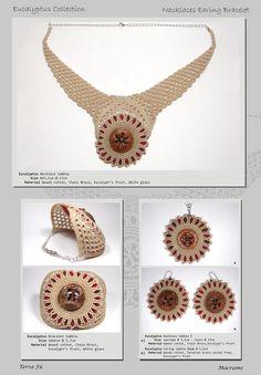 Eucalypto Nacklace, Bracelet & Earing; Terra Fu Macrame; Sabbia