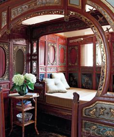 - Ginn Gypsy caravan interior via Elle Decor. The ornate woodwork with painted panels is reminiscent of an antique carousel. Creative ideas in crafts and upcycled, innovative, repurposed art and home decor. Guest Room Decor, Bedroom Decor, Guest Rooms, Bedroom Furniture, Gypsy Caravan Interiors, Caravan Decor, Tyni House, Wedding Bed, Kombi Home